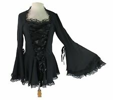 Plus Size Victorian Gothic Steampunk Corset Bell Sleeves Corset Ribbon Lace Top