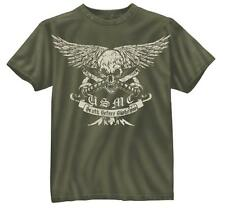 US Marine Corps Death Before Dishonor T-shirt USMC Skull Olive Drab OD Green