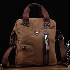 Men's Vintage Canvas Leather Schoolbag Crossbody Messenger Shoulder Handbag Bag