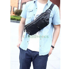 Men Leather Travel Hiking Messenger Shoulder Fanny Pack Waist Sling Chest Bag