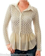 Beige Long Sleeve Open Crochet Lace & Chiffon Button Front Peplum Skirted Top