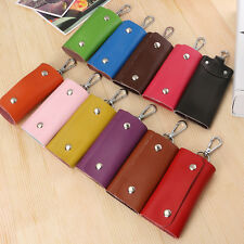 New 6 Key Rings PU Leather Key Case Bags Keychain Car Key Holder Wallet Cover