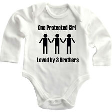 One Protected Girl Loved By 3 Brothers Long Sleeve Baby Bodysuit One Piece