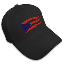 Puerto Rico Flame Flag On Black Embroidery Embroidered Structured Hat Cap