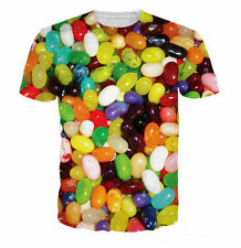 2016 Newest Fashion Womens/Mens colorful Jelly Beans Funny 3D print T-Shirt QN13