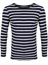Long Sleeve Organic Striped & White T-Shirt Men's Navy Long-sleeve T-Shirt