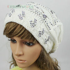 Stylish Girl's Button Rhinestone Ski Cap Wool Warm Knit Hat Big Pom-pom Beanies
