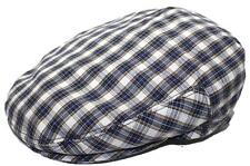 Men's Plaid Golf Summer flat Ivy Driving Cabbie Newsboy Cap Hat Navy / white