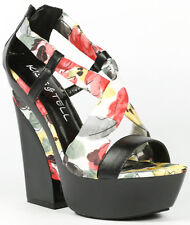 Black Red Floral Criss Cross Strappy Open Toe High Chunky Heel Platform Sandal