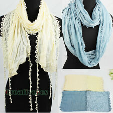 Fashion Dot Lace Trim Tassel Stitching Floral Cotton Long Scarf/Infinity Scarf