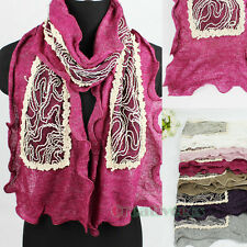 Fashion Women's Mesh Floral Lace Line 2-Layer Casual Long Scarf Shawl Wrap New