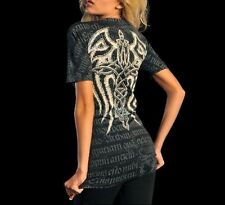 Affliction WOVEN Womens V-Neck Top L NWT NEW T-Shirt Black