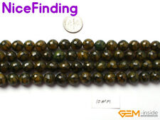 Wholesale Green Yellow Faceted Agate Round Stone Beads For Jewelry Making 15''