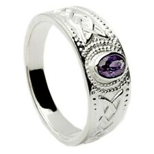 Solid Silver and Amethyst Stone Irish Celtic Ring Made In Ireland Gift Boxed