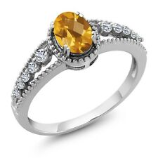 0.89 Ct Oval Checkerboard Yellow Citrine White Topaz 14K White Gold Ring