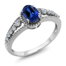 1.11 Ct Oval Blue Simulated Sapphire White Topaz 925 Sterling Silver Ring