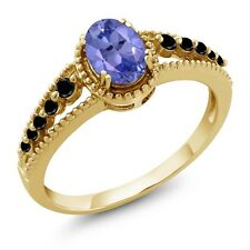 0.97 Ct Oval Blue Tanzanite Black Diamond 14K Yellow Gold Ring