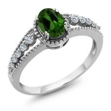 1.01 Ct Oval Green Chrome Diopside White Topaz 925 Sterling Silver Ring