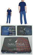 Nautica mens pajama set 2 piece short sleeve v neck flannel pants size M NEW
