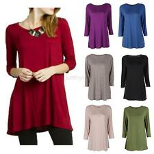 New Women Ladies Casual Top Blouse Boat Neck 3/4 Sleeve Loose Tunic Long T-Shirt