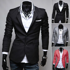 Stylish Mens Slim Fit Suit Two Buttons Coat Formal Business Tops Blazer Jacket