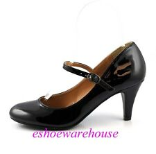 Black Patent  Awesome Cutie Round Toe Mary Jane Mid Heels Pumps