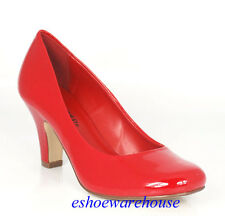 Lipstick Red Patent Round Toe Easy Sleek Chunky Mid Heel Awesome Pumps Shoes