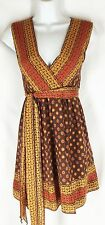 ANNA SUI for TARGET BROWN Orange Floral Wrap Belted Silk Dress XS