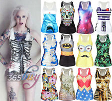 Womens Punk Digital Print Tank Top Vest Blouse Gothic Club Party T-Shirt Singlet