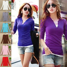 Women Sexy Stylish V Neck Blouse Slim Fit Bottoming Shirt Long Sleeve Tops Pink