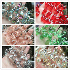 10pcs, Faceted 12x25mm Water Drop Crystal Glass Beads