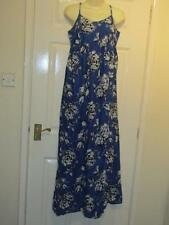 BLUE WITH WHITE BLACK FLORAL MAXI DRESS - UK Size 12