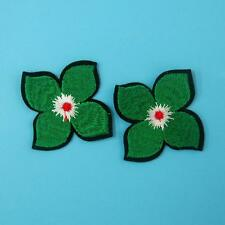 2 Green Leaf Flower Iron on Sew Collar Patch Cute Applique Badge Embroidered Bus