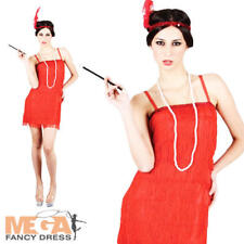 Red Flapper Dress Ladies Fancy Dress 1920s Charleston Womens 20s Costume Outfit