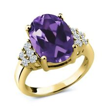 4.83 Ct Oval Purple Amethyst White Diamond 18K Yellow Gold Plated Silver Ring
