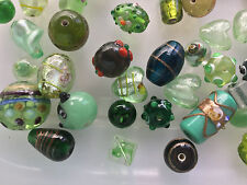 JOB LOT  GLASS AND LAMPWORK GLASS BEADS GREEN MIX . ALL SHOWN