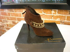 B Makowsky Holly Brown Suede & Chain Ankle Boots New