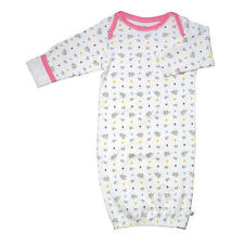 Baby Soy Girls White Bird Printed Gown with Fold Over Mitten Cuffs