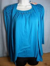 Sag Harbor Stretch Women's Missy Blue Pucker Embellished Cardigan Top w/Bling