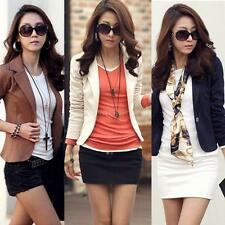 Trendy Womens Slim Solid Suit Blazer Jacket Coat Outwear One Button Tops Clothes