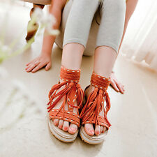 Women's Low Heel Sandals BOHO Tassels Open Toe Ankle Strapy Summer Shoes 5color