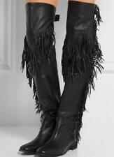 Womens Leather Over Knee High Boots Pointed Toe Tassels Shoes Gladiator US 11 sz