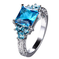 Blue Sapphire  Women's 10Kt White Gold Filled Wedding Engagement Ring Size 6-11