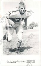 1961 University of Colorado Football Halfback Loren Schweninger Press Photo