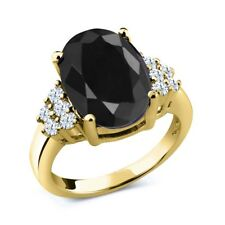 4.80 Ct Oval Black Sapphire White Topaz 18K Yellow Gold Plated Silver Ring