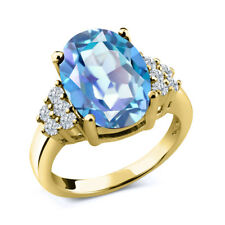 4.33 Ct Oval Millennium Blue Mystic Quartz White Diamond 14K Yellow Gold Ring