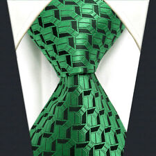 A19 Men Ties Extra Long Size Silk Green Geometric Neckties Jacquard Woven New