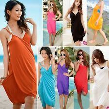 2016 Sexy Deep V-Neck Swimwear Bikini Cover Up Open-Back Beach Wear Shirt Dress