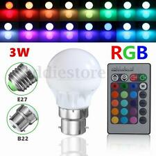 E27 B22 3W 16 Colors Changing RGB LED Light Bulb Lamp+IR Remote Control 85-265V