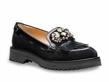 Car Shoe women's fringe loafers shoes in black calf leather Size US 6 - IT 36
